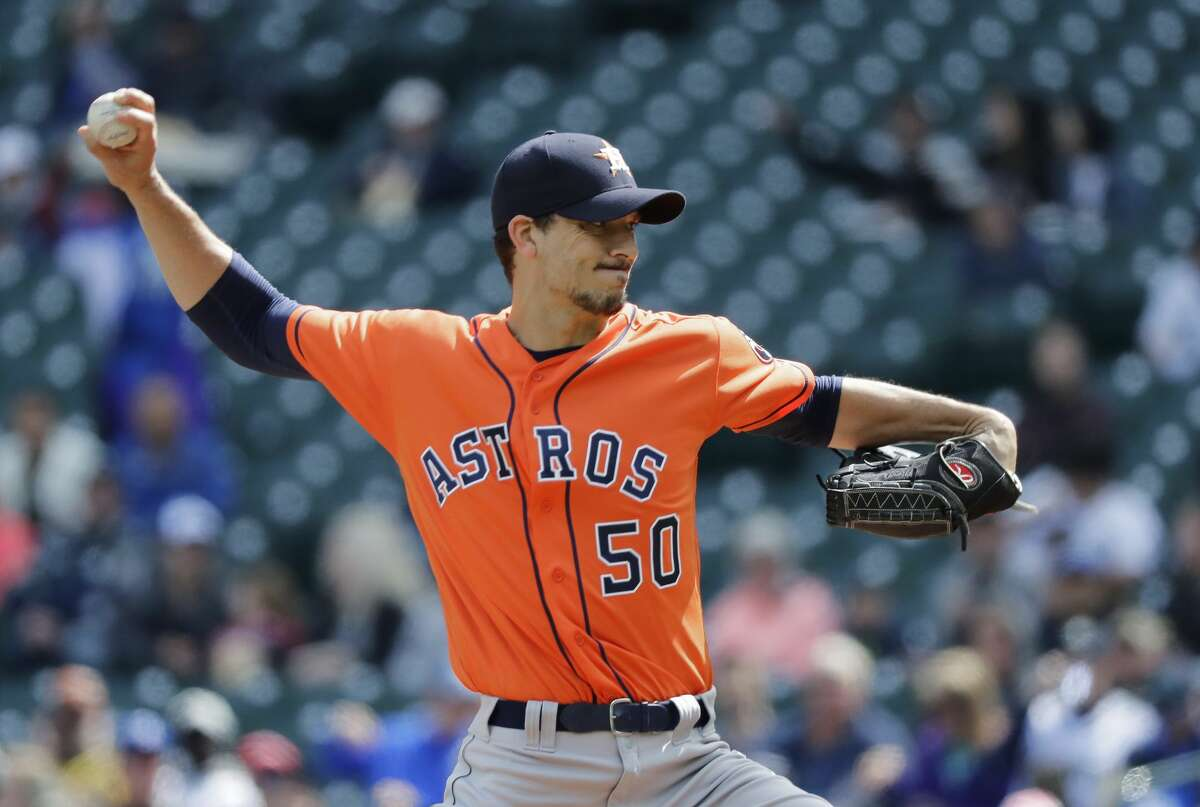 Houston Astros starting pitcher Charlie Morton throws against the Seattle Mariners during the first inning of a baseball game, Thursday, April 19, 2018, in Seattle. (AP Photo/Ted S. Warren)