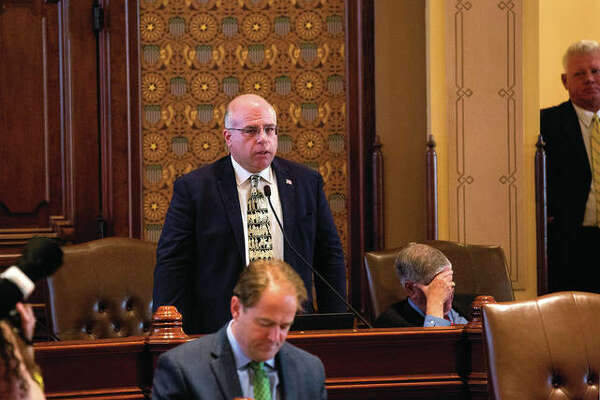 Sen. Sam McCann, R-Plainview, speaks on the Senate floor. McCann has announced he is making a run for governor as an independent candidate.