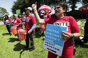 Ellen Bryan-Hill participates in a demonstration by United Airlines catering workers on Thursday, April 19, 2018, in Houston. The food service workers are trying to join a union and getting pushback from the airline. ( Brett Coomer / Houston Chronicle )
