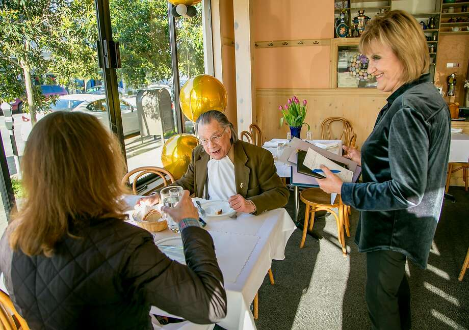 Katia Troosh (right) chats with diners at Katia's Russian Tea Room in the Inner Richmond. Photo: John Storey / Special To The Chronicle