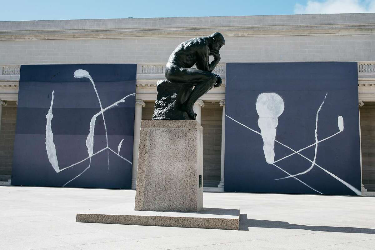 """""""Julian Schnabel: Symbols of Actual Life"""" seen near the Rodin's The Thinker statue at the Legion of Honor in San Francisco, Calif., Monday, April 16, 2018."""