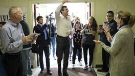 FILE -- Rep. Beto OÕRourke (D-Texas), who is taking on incumbent Republican Sen.Ted Cruz (R-Texas) in his upcoming Senate re-election run, arrives at a campaign event in Lufkin, Texas, Feb. 9, 2018. In the first three months of 2018, OÕRourke has raised $6.7 million, more than any of his Democratic counterparts seeking Senate seats around the country in that time period, giving Texas Democrats a burst of hope. (Tamir Kalifa/The New York Times)