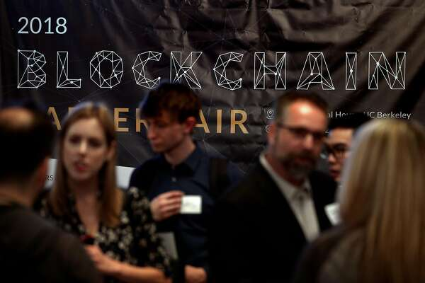 Several hundred attendees in Chevron Auditorium during a Blockchain Career Fair at the International House at the University of California Berkely in Berkeley, Calif., on Wednesday, April 18, 2018.  The fair will hosted some of the top blockchain companies in the world, including Coinbase, Consensys, and ZCash.