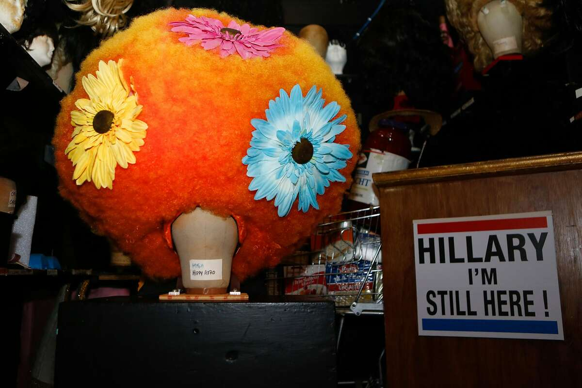 """A """"Hippy Afro"""" wig is seen backstage of the Beach Blanket Babylon at Club Fugazzi on Wednesday, March 14, 2018 in San Francisco, California."""