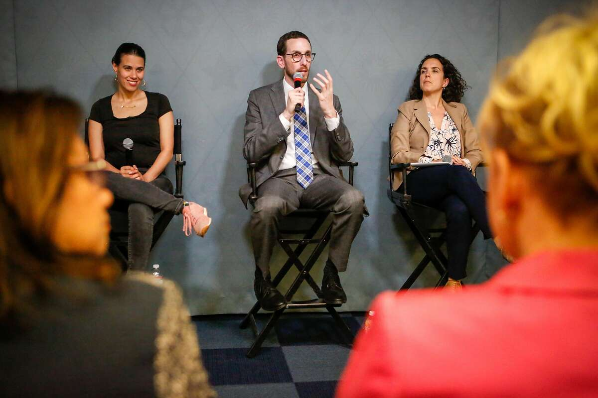 (Left to Right) Sonja Trauss founder SF Bay Area Renters� Federation, Senator Scott Wiener, and Miriam Zuk director of Urban Displacement Project and the Center for Community Innovation UC Berkeley participate in a panel discussion on housing at the Yelp headquarters on Thursday, April 18, 2018 in San Francisco, California.