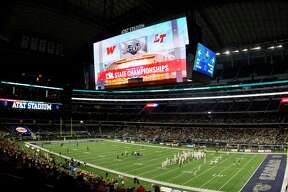 AT&T Stadium is seen before a UIL Class 6A Division I state final between The Woodlands and Lake Travis Saturday, Dec. 17, 2016, in Arlington.
