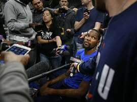Kevin Durant #35 of the Golden State Warriors meets with the media. Golden State Warriors practice at the AT&T Center on Wednesday, April 18 ,2018.