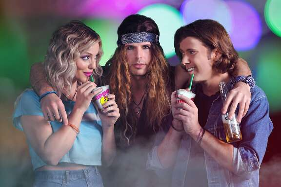 "From left: Jessica LaFever as Sherrie, Jimmy Mason as Stacee Jaxx and Jason Mooney as Drew in Palo Alto Players� ""Rock of Ages."""