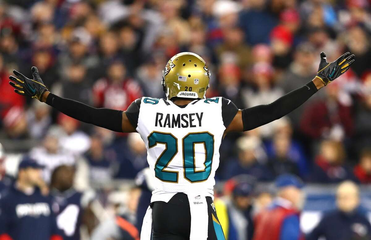 Jalen Ramsey #20 of the Jacksonville Jaguars reacts during the second half of the AFC Championship Game against the New England Patriots at Gillette Stadium on January 21, 2018 in Foxborough, Massachusetts. (Photo by Adam Glanzman/Getty Images)