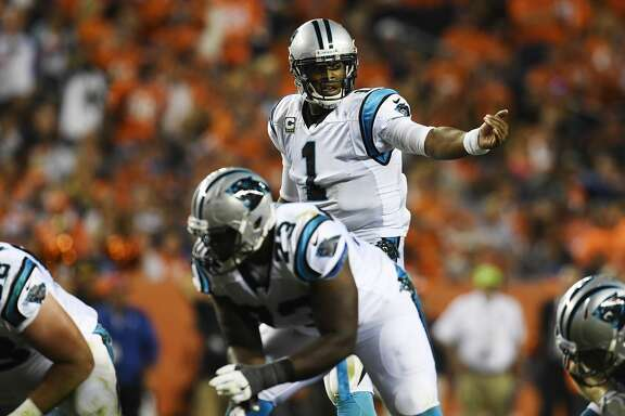 DENVER, CO - SEPTEMBER 08: quarterback Cam Newton (1) of the Carolina Panthers directs his team before the snap against the Denver Broncos during the second quarter. The Denver Broncos hosted the Carolina Panthers on Thursday, September 8, 2016. (Photo by Helen H. Richardson/The Denver Post via Getty Images)
