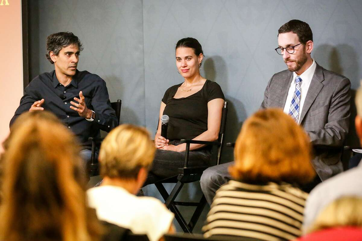 (Left to Right) YELP CEO Jeremy Stoppelman, Sonja Trauss Founder SF Bay Area Renters� Federation, and Senator Scott Wiener participate in a panel discussion on housing at the Yelp headquarters on Thursday, April 18, 2018 in San Francisco, California.