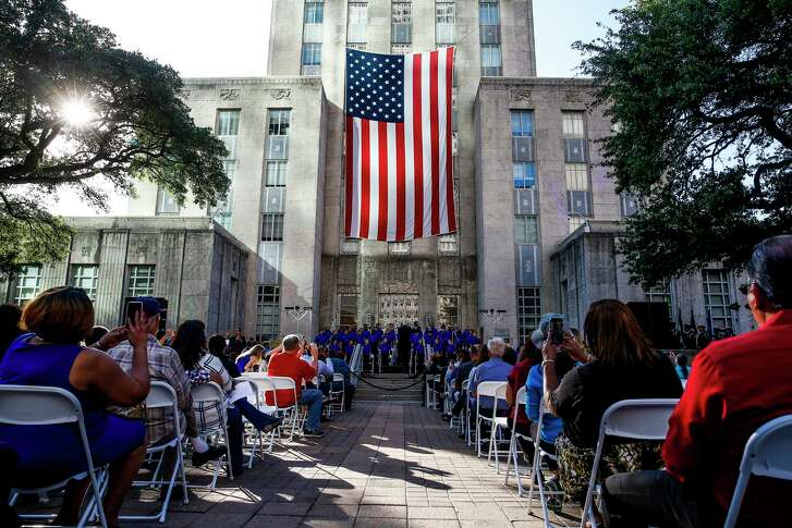 The Houston Children's Chorus performs during A Celebration of Life for former First Lady Barbara Bush at City Hall Thursday, April 19, 2018 in Houston.