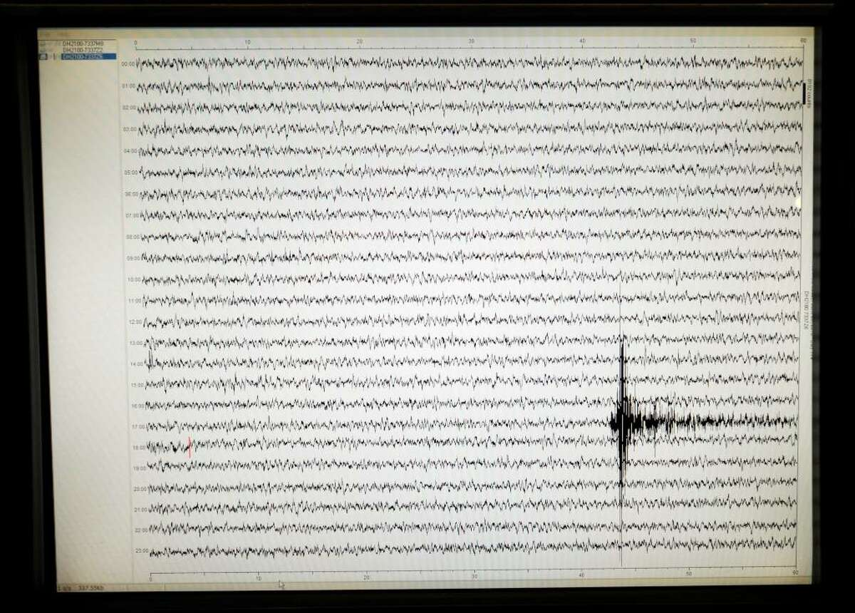The readout from the seismic instrument in the State Museum in Albany shows the activity Wednesday afternoon at the time of an earthquake whose epicenter was in Canada. (Skip Dickstein/Times Union)