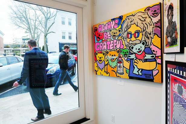 """A painting by artist Will Street titled """"Always Be Grateful"""" could be seen during the art show """"From the Vault: The Art of Jerry Garcia and The Grateful Dead,"""" featuring art done by the late Jerry Garcia, the lead guitarist and vocalist for the band, as well as art by other band members and various other artworks and photographs of the band, at C. Parker Gallery in Greenwich, Conn., Thursday, April 19, 2018. The show runs through Sunday, April 29th, C. Parker Gallery is located at 409 Greenwich Avenue."""