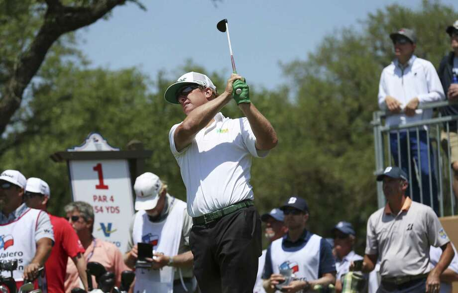 2016 Valero Texas Open champion Charley Hoffman tees off from No. 1 on Day 1 of the 2018 Valero Texas Open at TPC San Antonio on Thursday, Apr. 19, 2018. (Kin Man Hui/San Antonio Express-News) Photo: Kin Man Hui, Staff / San Antonio Express-News / ©2018 San Antonio Express-News