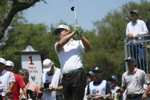 2016 Valero Texas Open champion Charley Hoffman tees off from No. 1 on Day 1 of the 2018 Valero Texas Open at TPC San Antonio on Thursday, Apr. 19, 2018. (Kin Man Hui/San Antonio Express-News)