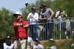 Two-time Texas Open champion (2008 and 2009) Zach Johnson tracks his tee shot off on No. 1 on Day 1 of the 2018 Valero Texas Open at TPC San Antonio on Thursday, Apr. 19, 2018. (Kin Man Hui/San Antonio Express-News)