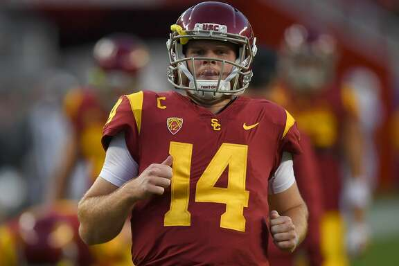 SANTA CLARA, CA - DECEMBER 01:  Sam Darnold #14 of the USC Trojans warms up during pregame warm ups prior to the start of the Pac-12 Football Championship Game against the Stanford Cardinal at Levi's Stadium on December 1, 2017 in Santa Clara, California.  (Photo by Thearon W. Henderson/Getty Images)
