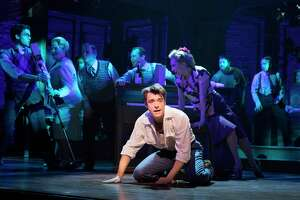 """FILE — Corey Cott in the musical """"Bandstand"""" at the Bernard B. Jacobs Theater in New York, March 30, 2017. All 13 of last season's new Broadway shows, plus two revivals, produced cast recordings, regardless of merit or likely profit. (Sara Krulwich/The New York Times)  ORG XMIT: XNYT256"""