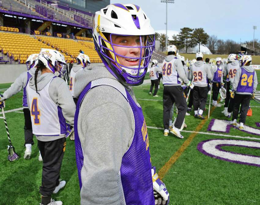 UAlbany lacrosse player #5 Connor Fields during practice Wednesday Jan. 31, 2018 in Albany, NY. (John Carl D'Annibale/Times Union)