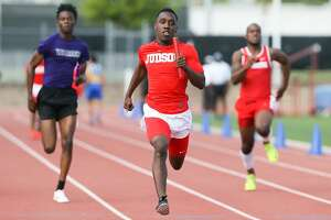 Judson's Kenyon Morgan (center) approaches the finish line of the boys 400-meter relay during the District 27/28-6A area meet at Gustafson Stadium on Thursday, April 19, 2018.  Judson swept all three relays at the meet.  MARVIN PFEIFFER/mpfeiffer@express-news.net