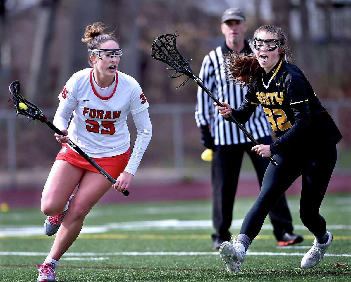 Amity comes-from-behind to defeat Foran, 16-14, at Vito DeVito Sports Complex, Thursday, April 19, 2018, at Foran High School in Milford.