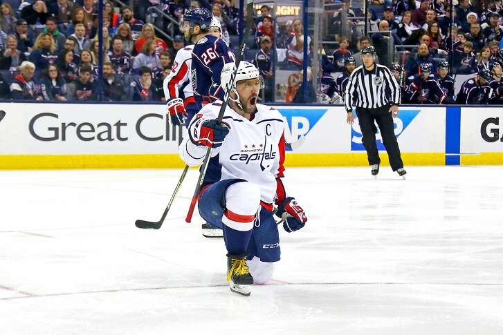 COLUMBUS, OH - APRIL 19:  Alex Ovechkin #8 of the Washington Capitals celebrates after scoring a goal during the third period in Game Four of the Eastern Conference First Round during the 2018 NHL Stanley Cup Playoffs against the Columbus Blue Jackets on April 19, 2018 at Nationwide Arena in Columbus, Ohio. Washington defeated Columbus 4-1. (Photo by Kirk Irwin/Getty Images)