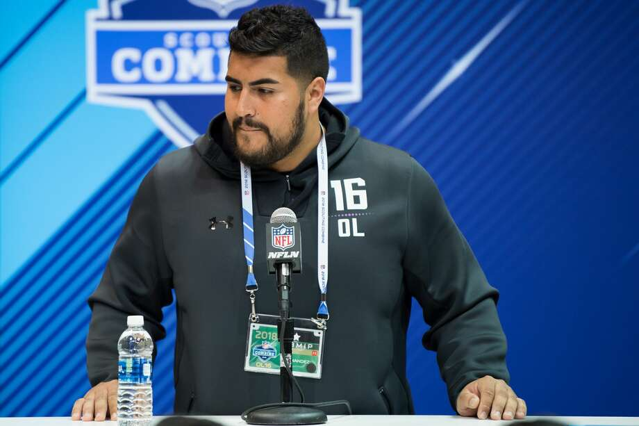 INDIANAPOLIS, IN - MARCH 01: UTEP offensive lineman Will Hernandez answers questions from the media during the NFL Scouting Combine on March 1, 2018 at the Indiana Convention Center in Indianapolis, IN. (Photo by Zach Bolinger/Icon Sportswire via Getty Images) Photo: Icon Sportswire/Icon Sportswire Via Getty Images