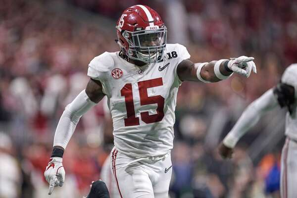 ATLANTA, GA - JANUARY 08: Alabama Crimson Tide defensive back Ronnie Harrison (15) celebrates after a play during the College Football Playoff National Championship Game between the Alabama Crimson Tide and the Georgia Bulldogs on January 8, 2018 at Mercedes-Benz Stadium in Atlanta, GA. (Photo by Robin Alam/Icon Sportswire via Getty Images)