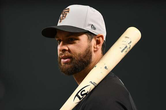 PHOENIX, AZ - APRIL 19:  Brandon Belt #9 of the San Francisco Giants looks on during batting practice prior to the MLB game against the Arizona Diamondbacks at Chase Field on April 19, 2018 in Phoenix, Arizona.  (Photo by Jennifer Stewart/Getty Images)