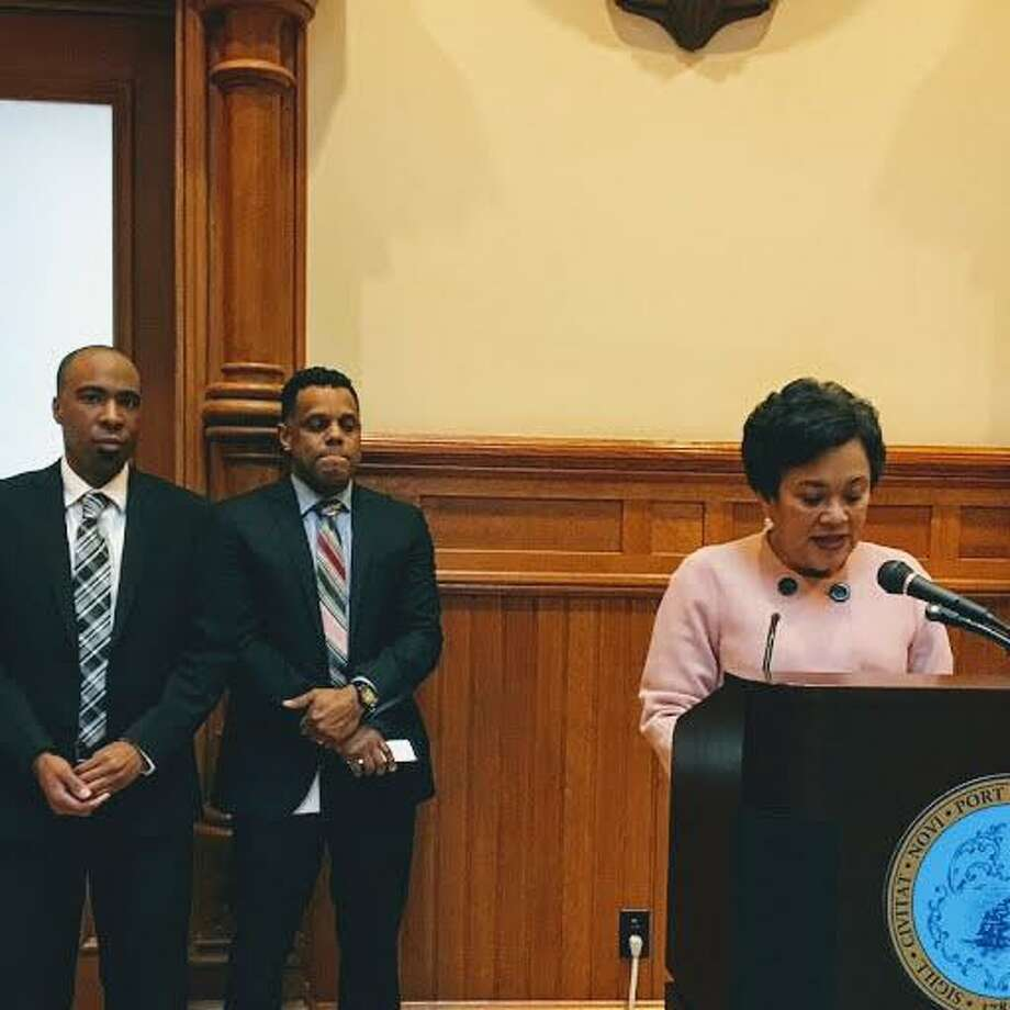 In this file photo, New Haven Mayor Toni N. Harp delivers her budget message at a press conference at City Hall. Behind her from left is Police Chief Anthony Campbell, Acting Budget Director Michael Gormany, Controller Daryl Jones and Economic Development Administrator Matthew Nemerson Photo: Mary O'Leary / Hearst Connecticut Media