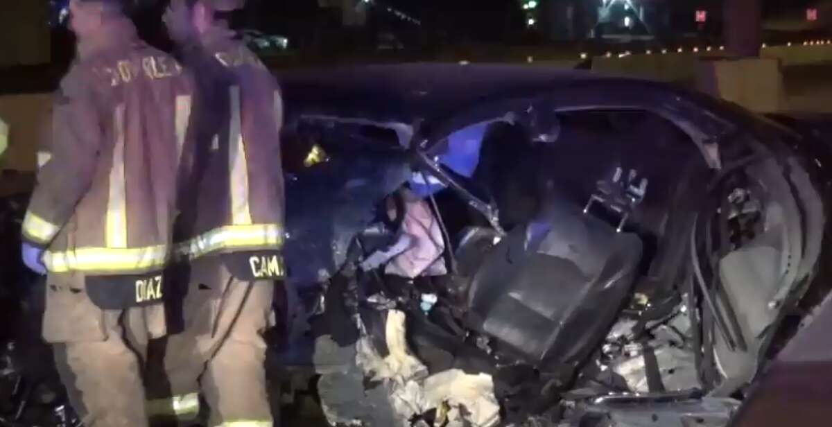 A man is in critical condition after he crashed on the eastbound East Freeway near Freeport Street on Friday, April 20, 2018.
