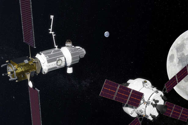 An artists conception of NASA's Deep Space Gateway, a space station that will orbit the moon.