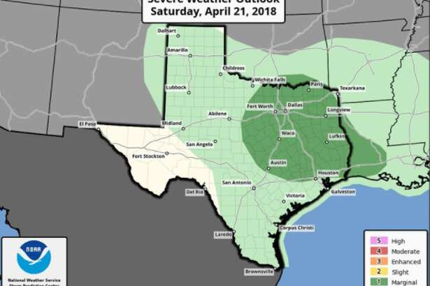 Severe weather is possible for the areas highlighted in dark green on Saturday, April 21, 2018.