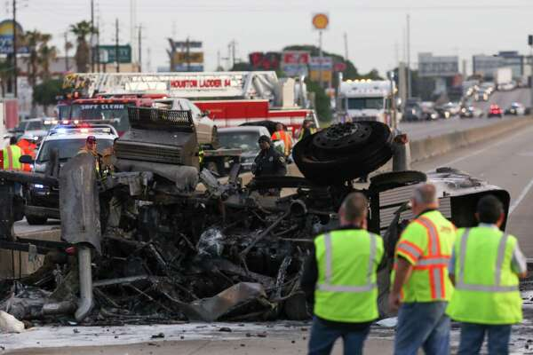 Both lanes of Interstate 45, between West Road and Mount Houston Road, were closed as Houston Police investigates a multiple-vehicle crash where an 18-wheeler caught fire Friday, April 20, 2018, in Houston.