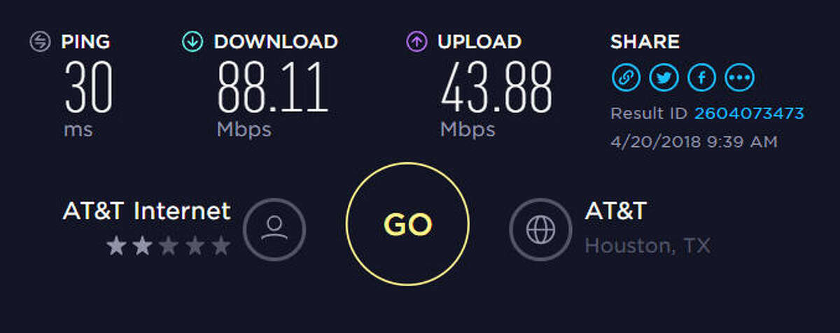 A speed test from the iPhone 8 Plus on April 20, 2018, outside at 4747 Southwest Freeway in Houston, Texas. This smartphone is not compatible with AT&T's 5G Evolution network.