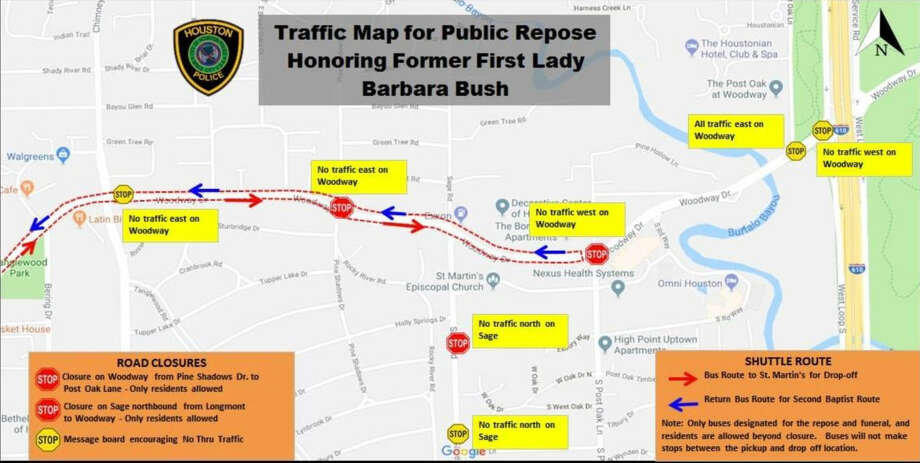 The Houston Police Department said part of Woodway Drive will be closed for First Lady Barbara Bush's funeral. Only residents will be allowed to pass through Pine Shadows Drive to Post Oak Lane. Sage Road northbound from from Longmont to Woodway will also be restricted to residents only.Scroll ahead to see images from the first lady's early years.  Photo: Houston Police Department