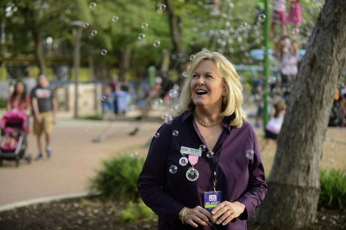 Amy Shaw is the executive director of the Fiesta San Antonio Commission, which plans, promotes and coordinates Fiesta. She's is shown at Hemisfair.