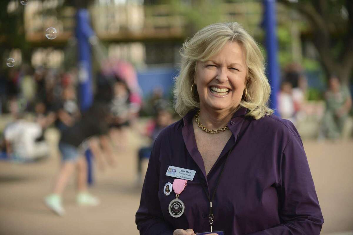 Amy Shaw is the executive director of the Fiesta San Antonio Commission, which plans, promotes and coordinates Fiesta. She is shown at Hemisfair during Fiesta Fiesta 2018.