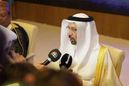 Khalid al-Falih, Saudi Arabia's energy minister, speaks to the media at the Joint Ministerial Monitoring Committee (JMMC) of OPEC in Jiddah, Saudi Arabia, on April 20, 2018.