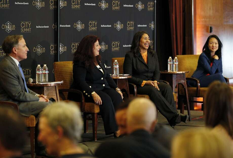John Diaz (left), Chronicle editorial page editor, hosts a mayoral forum last month with candidates Angela Alioto, London Breed and Jane Kim. Photo: Carlos Avila Gonzalez / The Chronicle