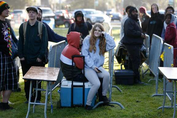Swergio Corea and Shelby Aspel arrived at 6 a.m. to be the first in line for the annual 4/20 celebration of cannabis on Hippie Hill at Golden Gate Park in San Francisco, Calif. on Friday, April 20, 2018.