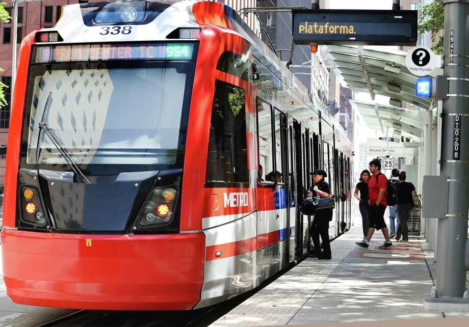 A Metropolitan Transit Authority light rail train sits at the Theater District platform April 10 in downtown Houston. Photo: Steve Gonzales, Staff Photographer / Houston Chronicle / © 2018 Houston Chronicle