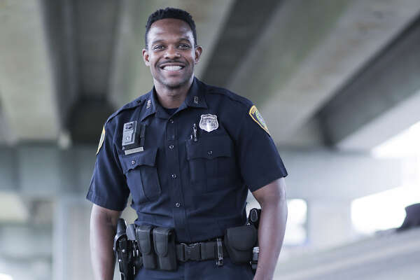 HPD offIcer Sheldon Theragood helped save a homeless man's life during Harvey.