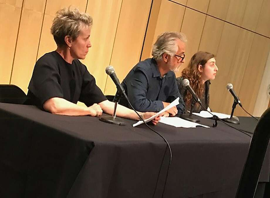 Frances McDormand (left), David Strathairn and Marjolaine Goldsmith at the Theater of War event at UCSF. Photo: Leah Garchik / The Chronicle