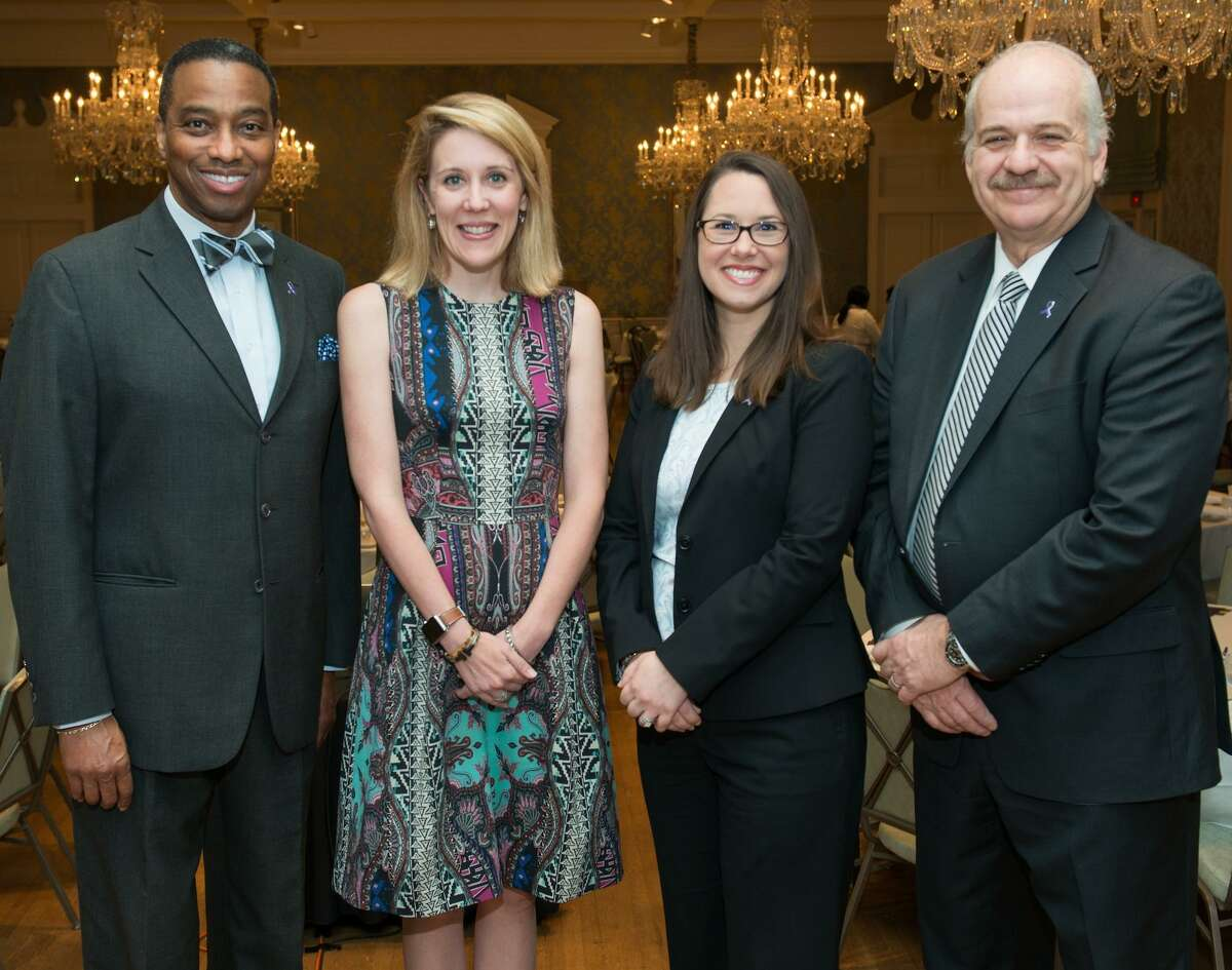 Pictured at the second annual End Abuse Awareness Breakfast on April 11 fromleft at the Khambrel Marsahll, Carter Dugan, Rachel Roosth and Mark Wynn.