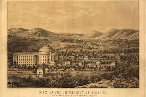 An illustration of the U-Va. campus from the 1860s.