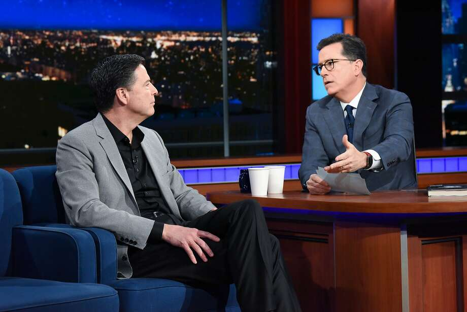 "James Comey talks with host Stephen Colbert on ""The Late Show"" on April 17. Photo: Scott Kowalchyk / CBS"