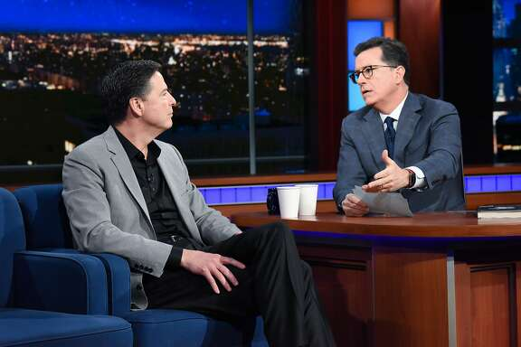 NEW YORK - APRIL 17: The Late Show with Stephen Colbert guest James Comey during Tuesday's April 17, 2018 show. (Photo by Scott Kowalchyk/CBS via Getty Images)