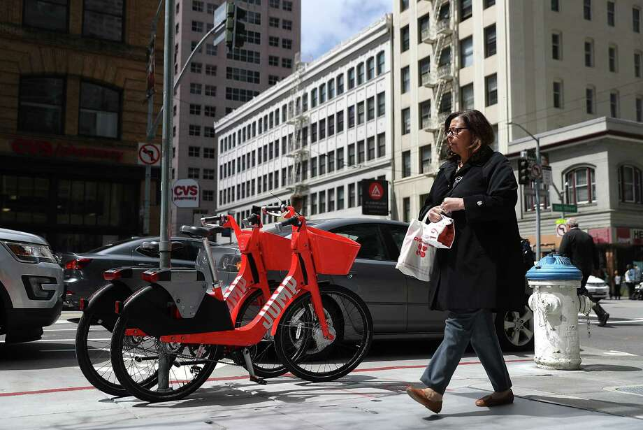 Uber recently purchased Jump Bikes, dockless electric bikes, shown here in San Francisco. Photo: Justin Sullivan, Getty Images / 2018 Getty Images